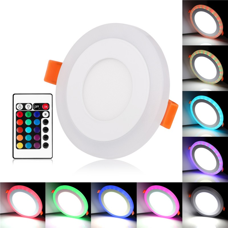Ultra Slim 6W/9W/18W/24W Round Concealed Dual Color RGB LED Panel Light Cool White Lamp Downlight AC 100-265V