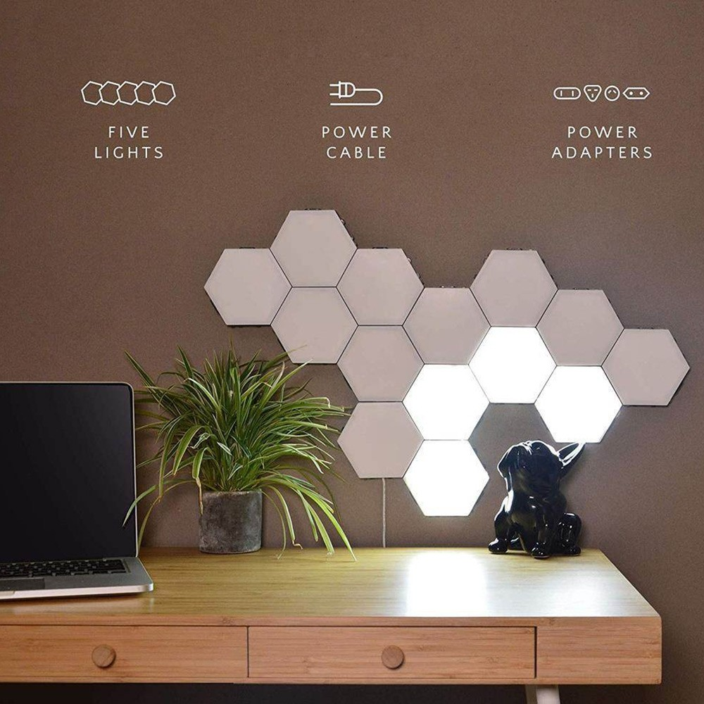 Touch Wall Lamp Quantum Lamps Hexagon Lights Sensitive LED Magnetic Modular Light for Home Decor DIY Wall lamparas-5pcs Set White US Plug