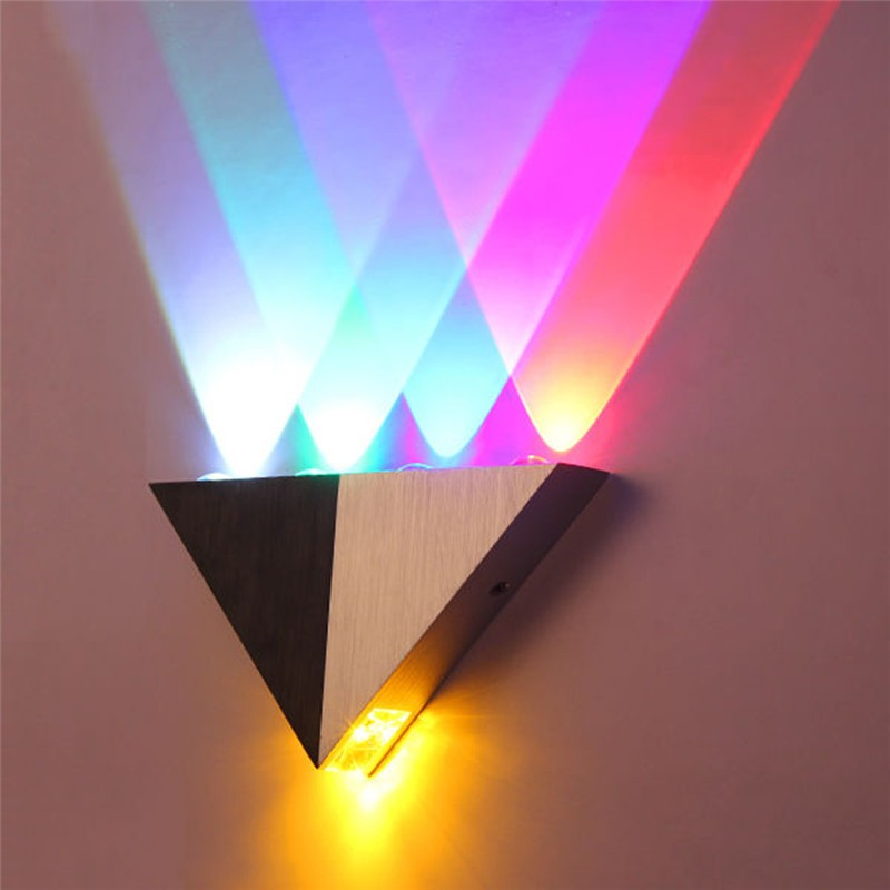 LemonBest Colorful 5W Aluminum Triangle LED Wall Light