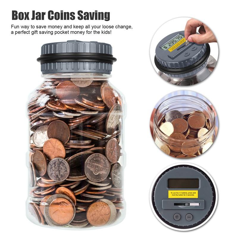 Creative Large Digital Coin Counting Money Saving Box Jar