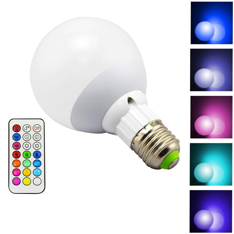 LemonBest-10W 800LM E27 RGB LED Light Bulb 12 Color Warm White Dimmable Lamp with Remote Control Timing Function