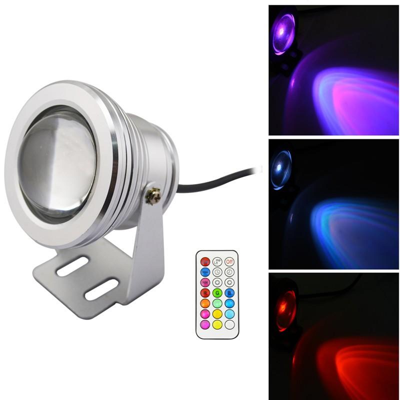 LemonBest-IP68 12 Colors 1000LM 10W RGB LED Underwater Fountain Light Spotlight Timing Function Pool Pond Fish Tank Aquarium LED Light Lamp