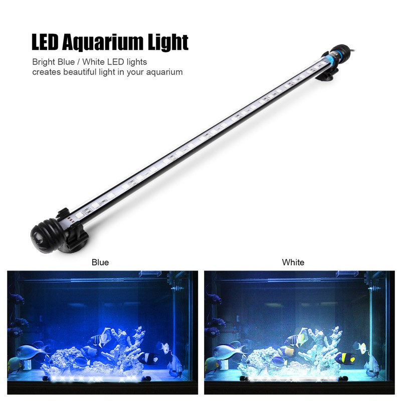 Submersible Underwater Blue / White 12 LED Aquarium Light Fish Tank ...