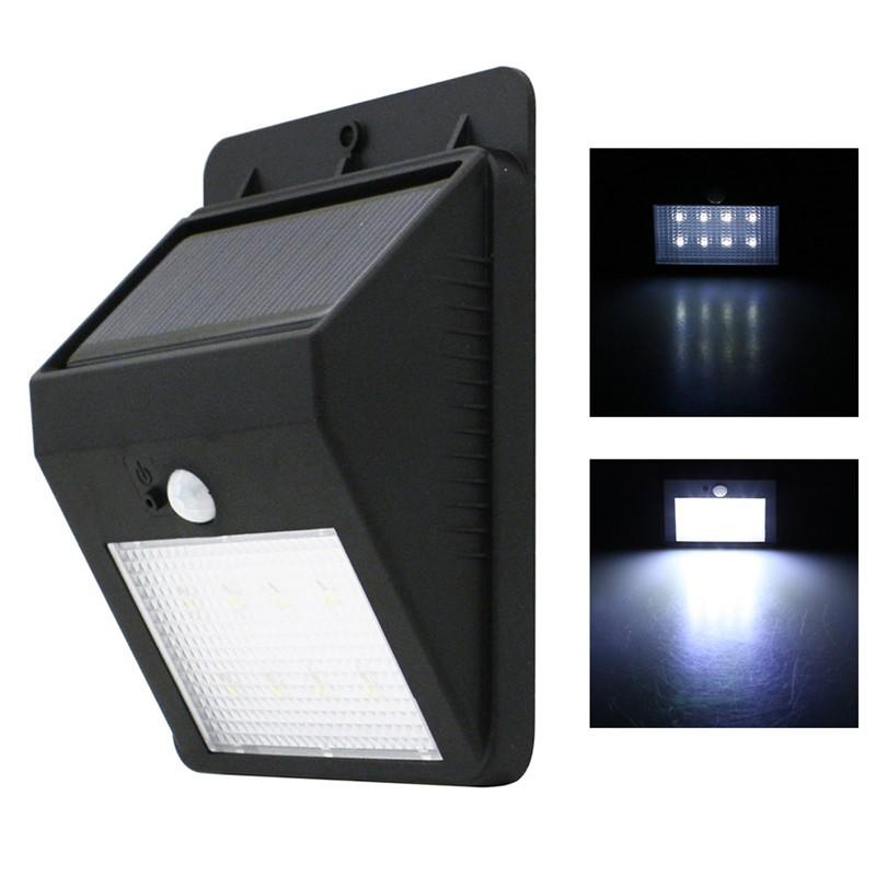 LemonBest-Solar Powered 160LM 8 LED Wall Light Auto Motion Sensor Outdoor IP65 Waterproof Garden Pathway Lamp