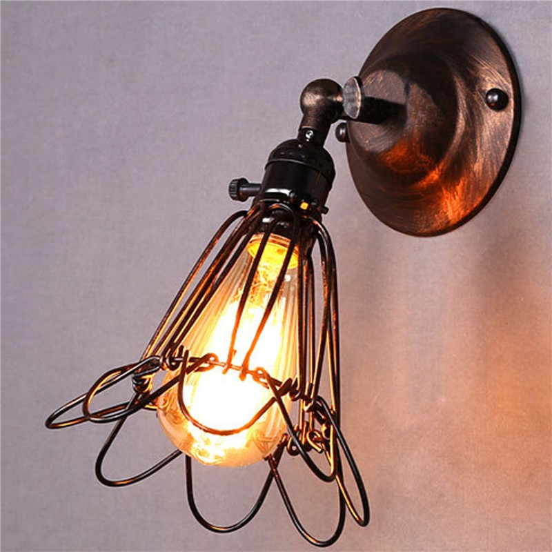 LemonBest-Vintage Restro Edison Birdcage Style Small E27 Wall Light ...