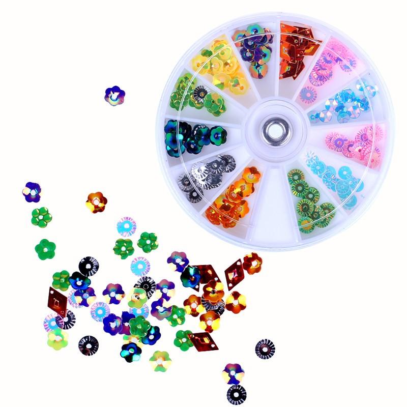 LemonBest-Multi Sizes Shape 3D Nail Art Paillette Decoration Glitter Multicolor with Wheel