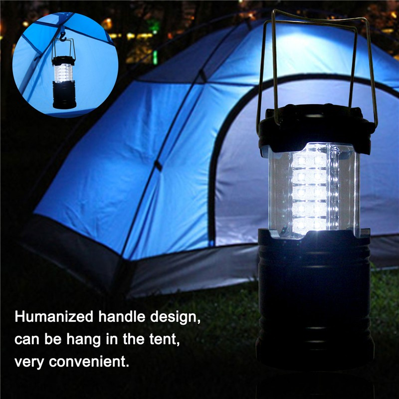 30-LED Outdoor Camping Light Portable Collapsible Tent Lamp Lantern Hiking with Handle