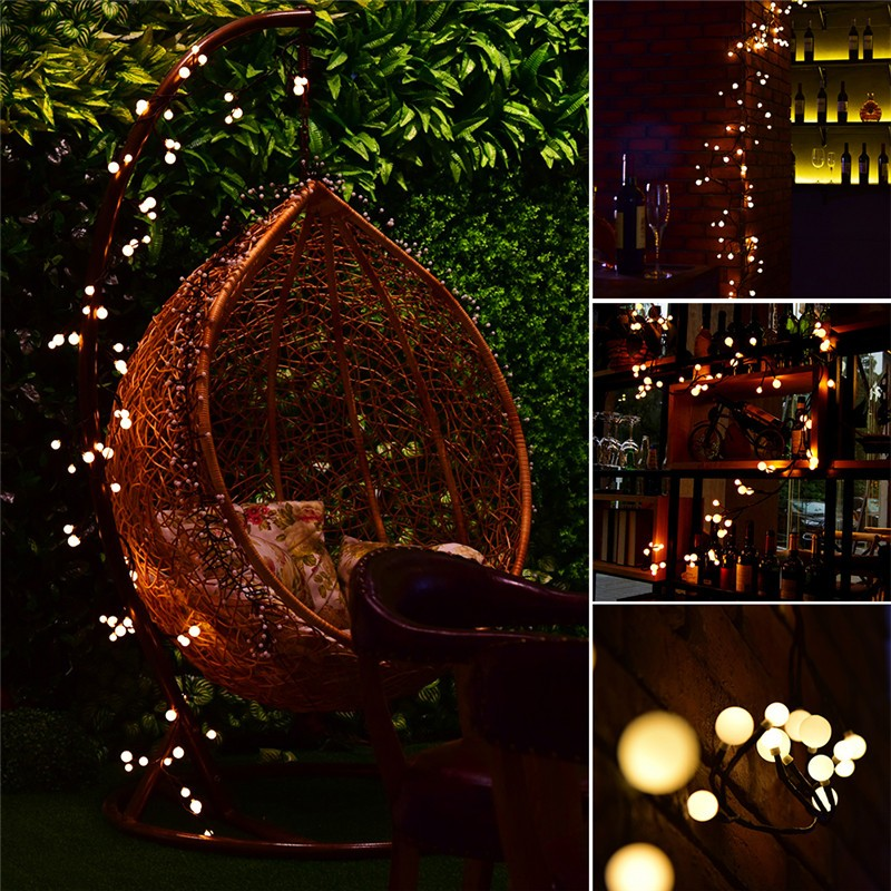 Lemonbest - 2.5m/8.2ft Flexible 72-LED Rattan Style String Light Bendable Warm White Globe Lamp with 8 Modes Memory Function Waterproof Decoration for Garden Home Patio Lawn Wedding Christmas Festival Party US / EU Plug AC 120V