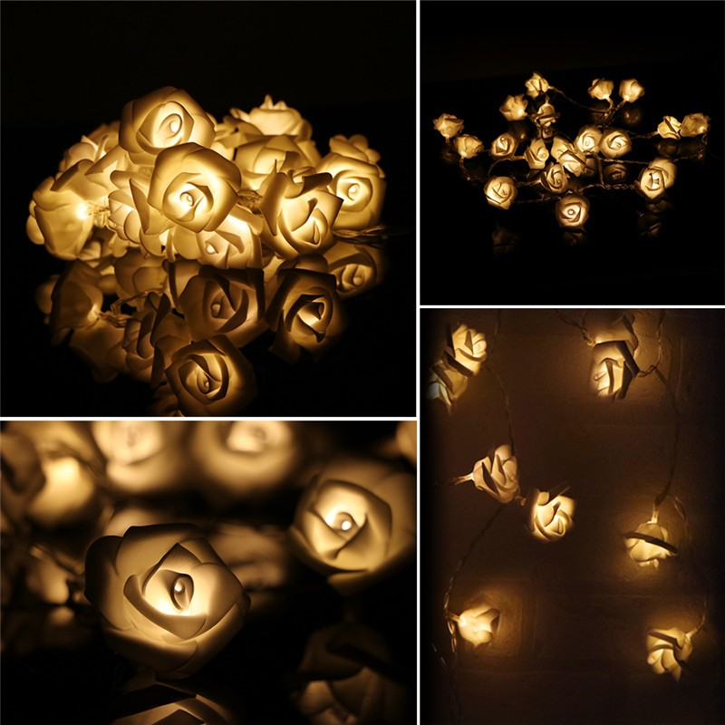 Lemonbest - 20-LED Battery Operated Rose Flower String Lights Fairy lights Rose Blossom Lamps for Wedding Garden Christmas Decor (Warm White)