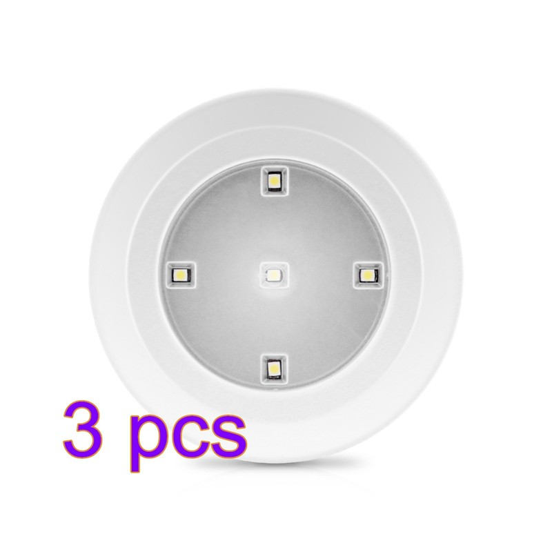 3pcs Wireless LED Tap Light Battery Operated Stick-on Lights White L& for Closets Under Cabinets Showcase and Living Room  sc 1 st  Lemonbest & 3pcs Wireless LED Tap Light Battery Operated Stick-on Lights White ...