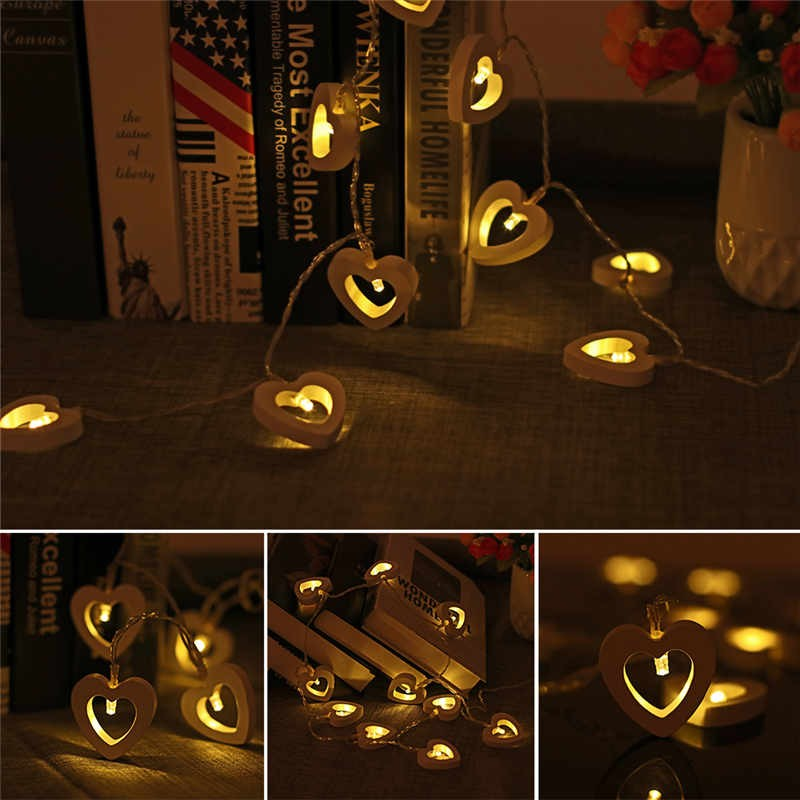 10 LED Lights Clip String Wooden Love Heart Fairy Decor Battery Powered  Romantic Hanging String Light Artwork Crafts Wood Decoration For Wedding  Home ...