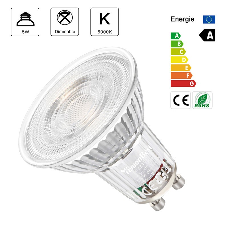 Lemonbest - GU10 LED Bulb, Dimmable / Non-Dimmable  Spotlight Glass Bulb Lamp 500LM 6000K /SMD2835/ 36 Degree Beam Angle  / 5W  Equivalent 50W Halogen