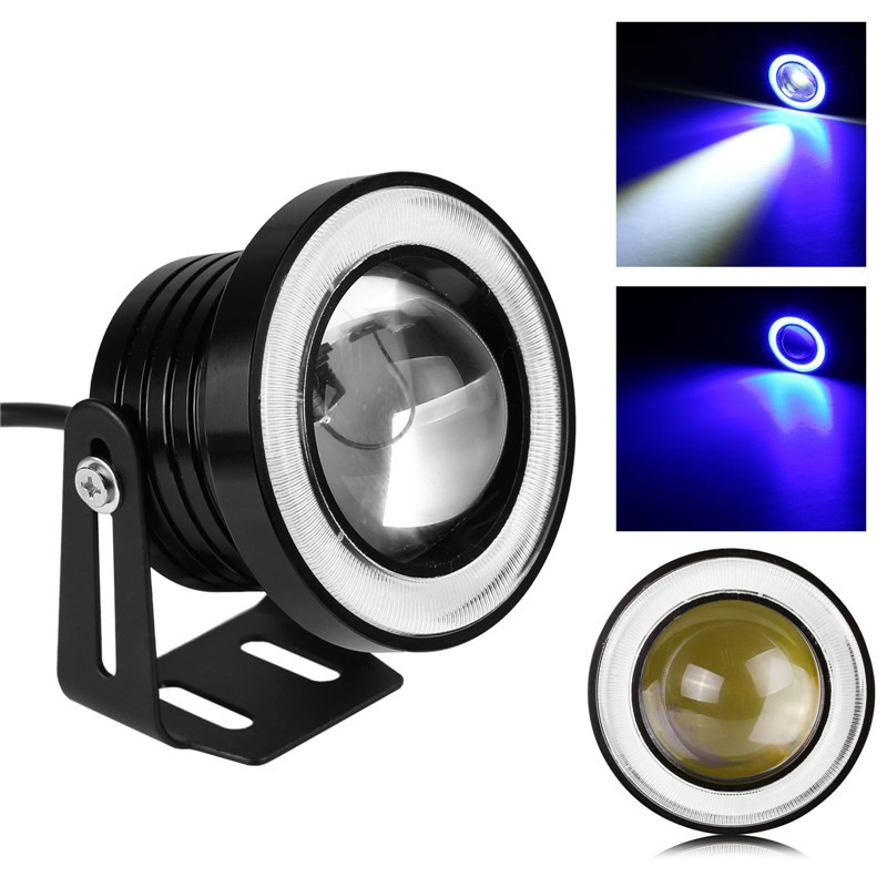 "2pcs 76mm/3"" 10W 1200LM Car LED Headlight Fog Angel Eyes Light Spot Lamp 12V Waterproof"