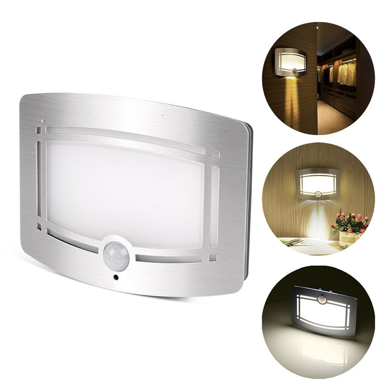 Wireless Battery Operated Wall Sconces : LemonBest-Motion Sensor Activated LED Wall Sconce Battery Operated Wireless Night Light Auto On ...