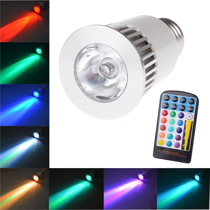 5W E27 16 Colors High Power RGB LED Light 4 Mode Flashlight Dimmable Spotlight Lamp
