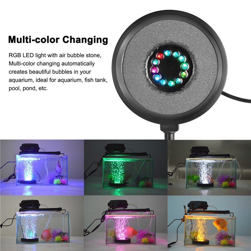 Submersible RGB 12 LED Aquarium Light Round Fish Tank Air Stone Bubble Lamps for Garden Pool Pond Decoration US Plug