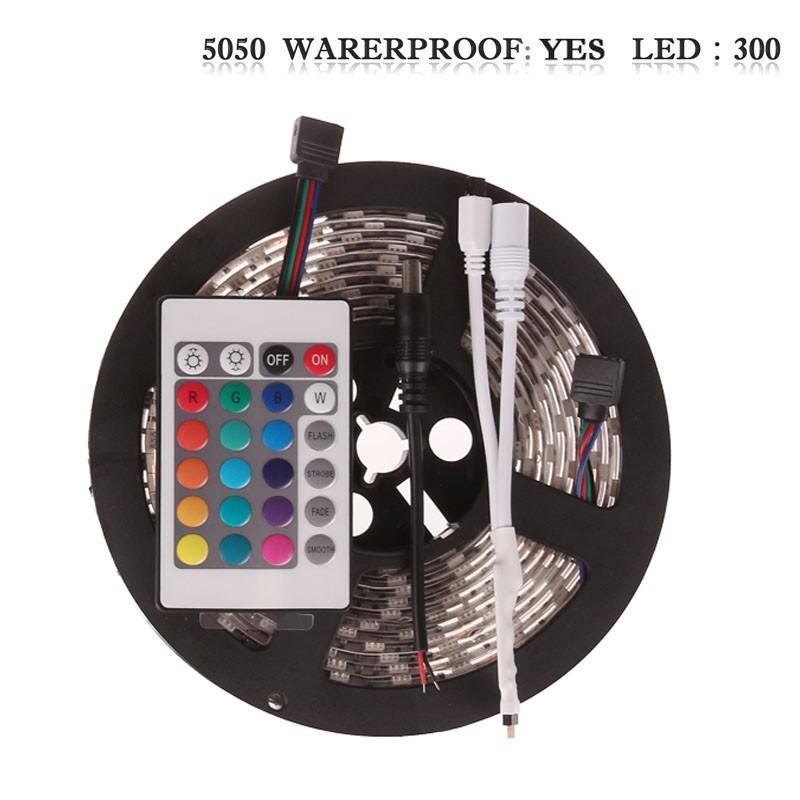 LemonBset - (Waterproof) 5M/roll 300 LEDs RGB SMD 5050 Flexible led Strip Light with 24Keys IR Remote