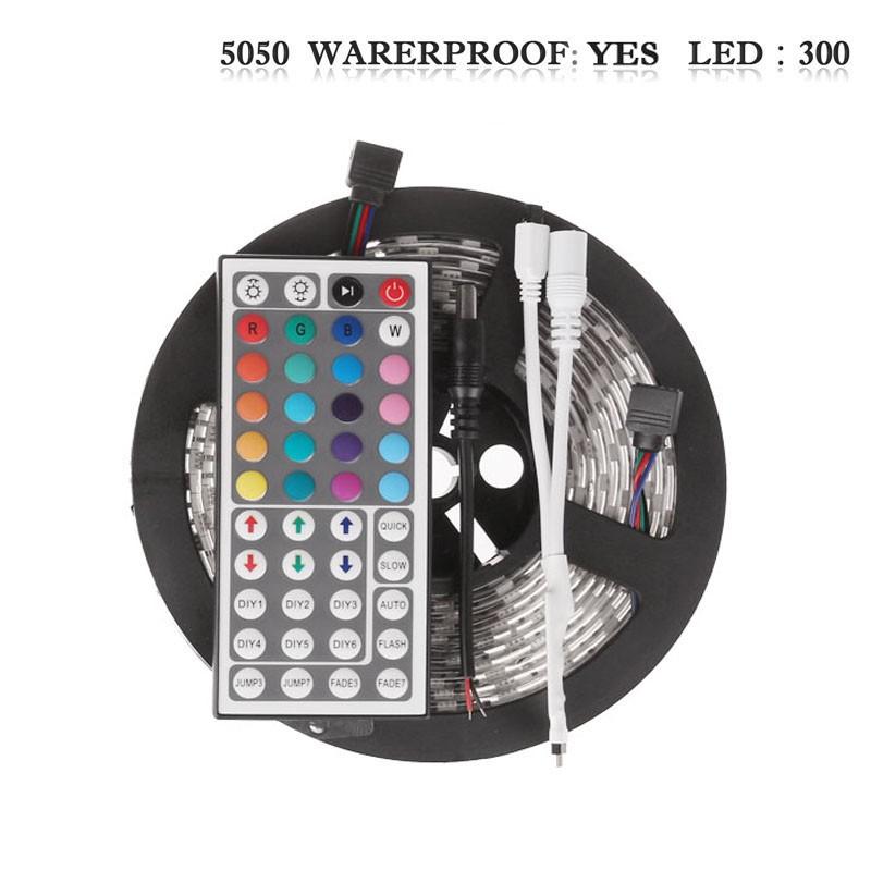 LemonBset - (Waterproof) 5M/roll 300 LEDs RGB SMD 5050 Flexible led Strip Light with 44Keys IR Remote