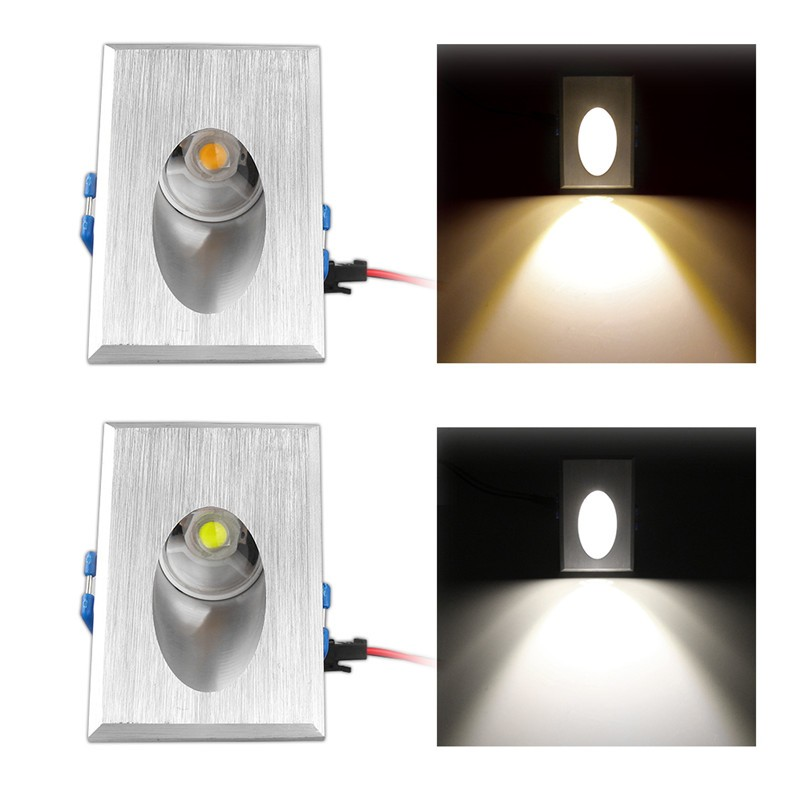 1w rectangle recessed led porch pathway step stair light wall lamp