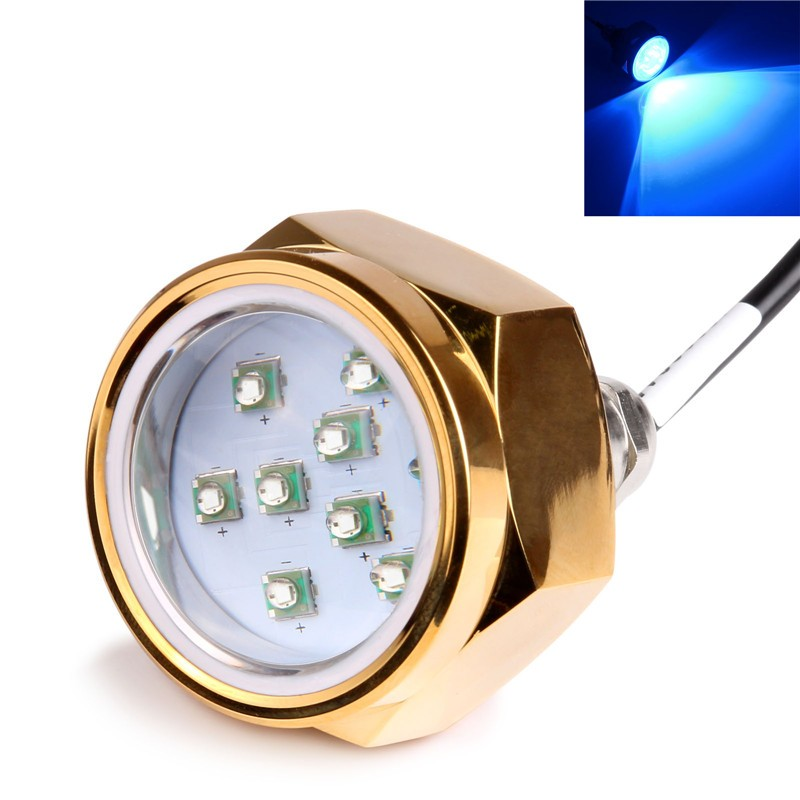 """LemonBest-27W Boat Drain Plug Light 9 LED Boat Light Underwater Boat Lamp 1/2"""" NPT Threaded 12V/24V"""