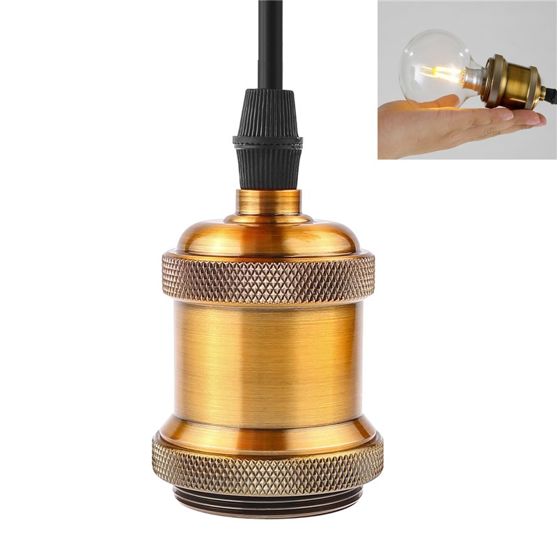 E27 Vintage Loft Copper Pendant Lamp Adjustable Celling Light Edison Lighting Holder