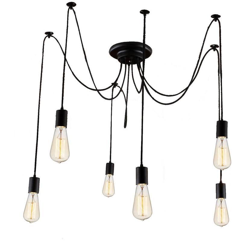 LemonBest-6 Head E27 Vintage DIY Ceiling Chandelier Light Fixtures Antique Adjustable Flush Mount Pendant Light Lamp