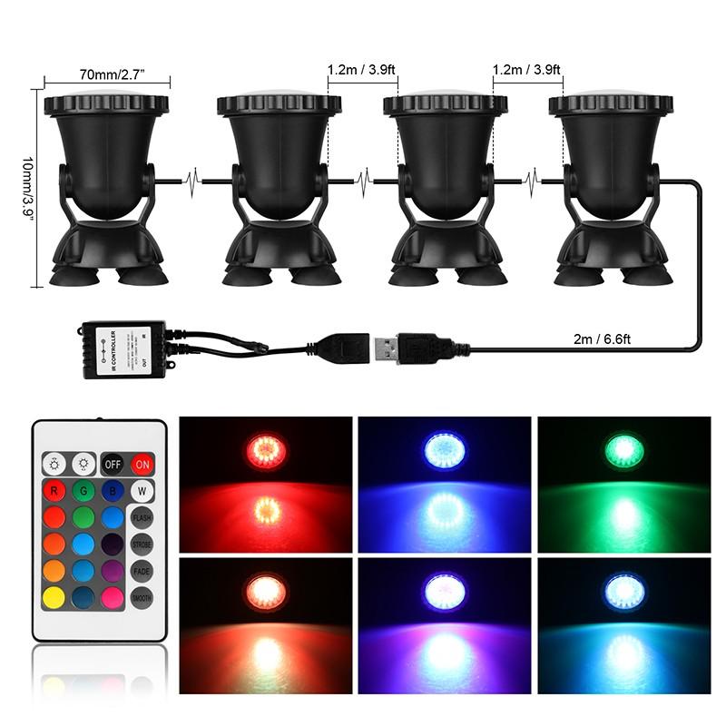 4pcs Remote Control RGB 36-LED Underwater Spot Light IP68 for Water Aquarium Garden Pond Fish Tank Lighting