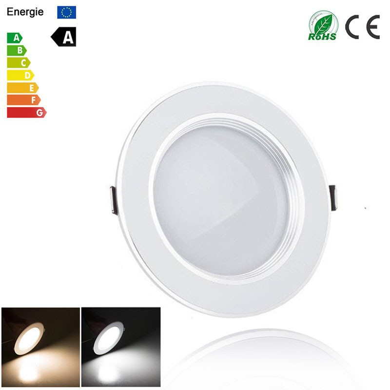 Lemonbest-Ultra Slim 3W/5W/7W/9W/12W LED White Downlight Flat Lens Recessed Ceiling Light Spotlight AC 100-245V