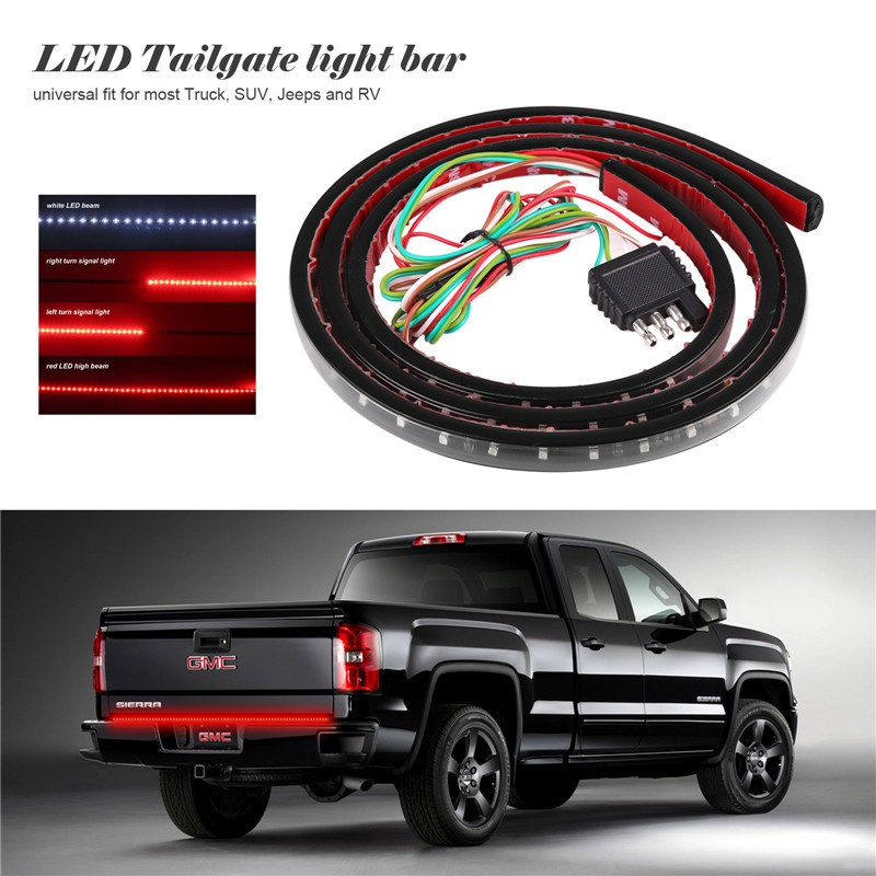 Flexible car truck 90 led tailgate light bar runningbrakereverse 60 flexible car truck 90 led tailgate light bar runningbrakereversesignalrear strip light lamp smd red and white 12v audiocablefo