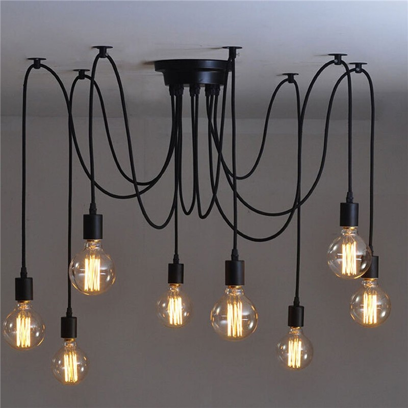 LemonBest-8 Head Vintage Industrial Style Edison Chandelier Retro DIY E27 Hanging Pendant Lamp Ceiling Light Fixtures