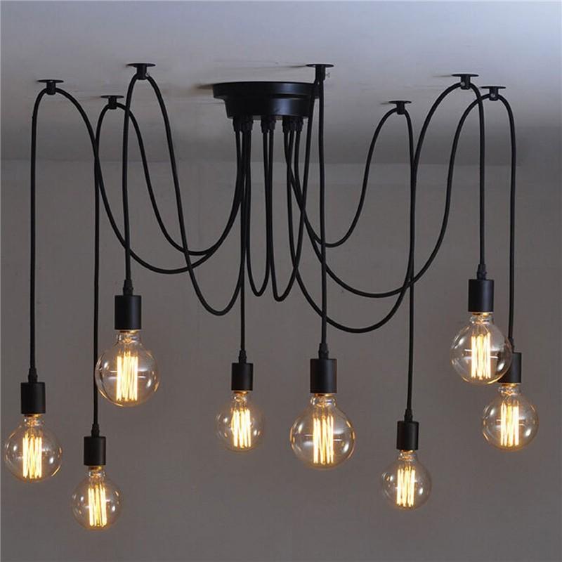 Lemonbest 8 Head Vintage Style Edison Chandelier Retro Diy E27 Hanging Pendant Lamp Ceiling Light Fixtures
