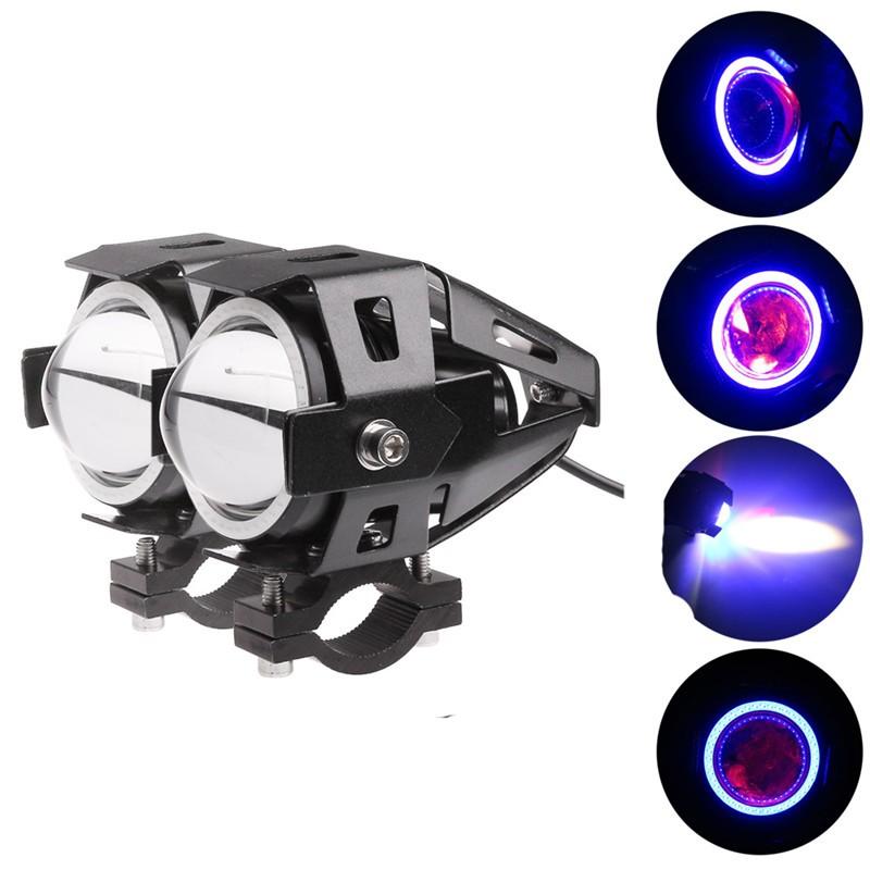 LemonBest-2PCS Cree U7 LED Motorcycle Headlight Fog Spot Light Lamp Angle Eyes + Devil   Eyes 12-80V Waterproof