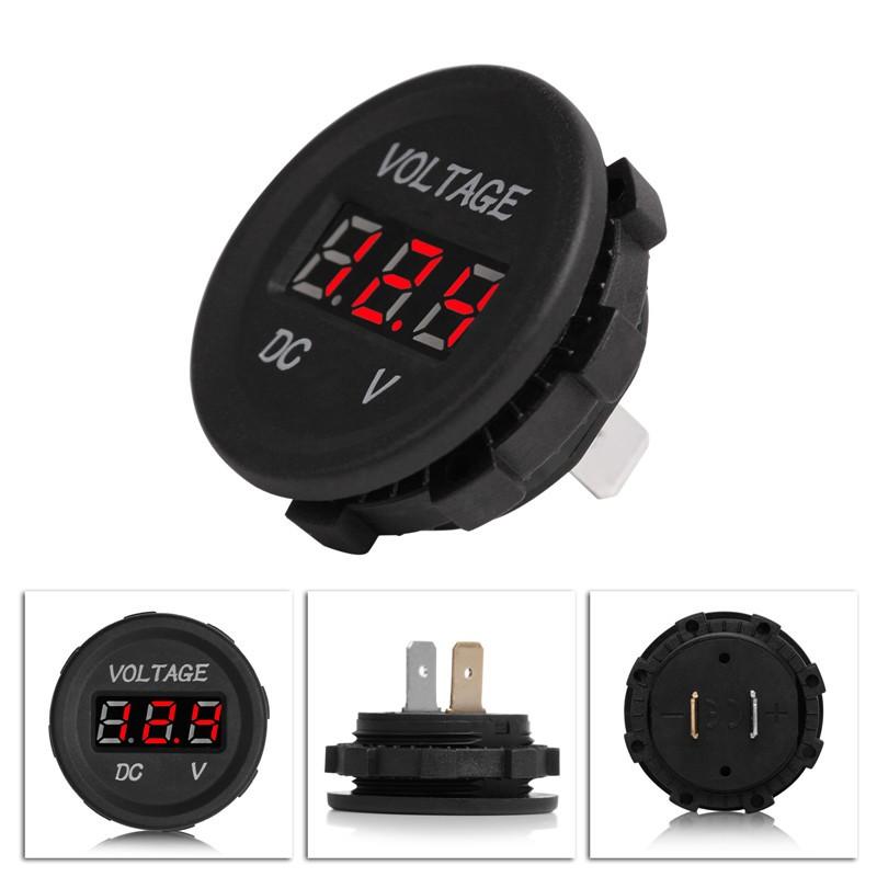 12V 24V Waterproof Car RED LED Digital Display Voltmeter Socket