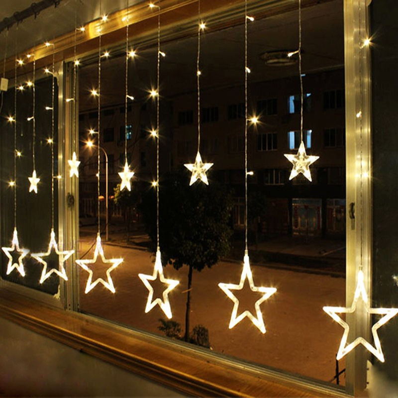 12 Twinkling Stars Christmas Fairy String Lights Window