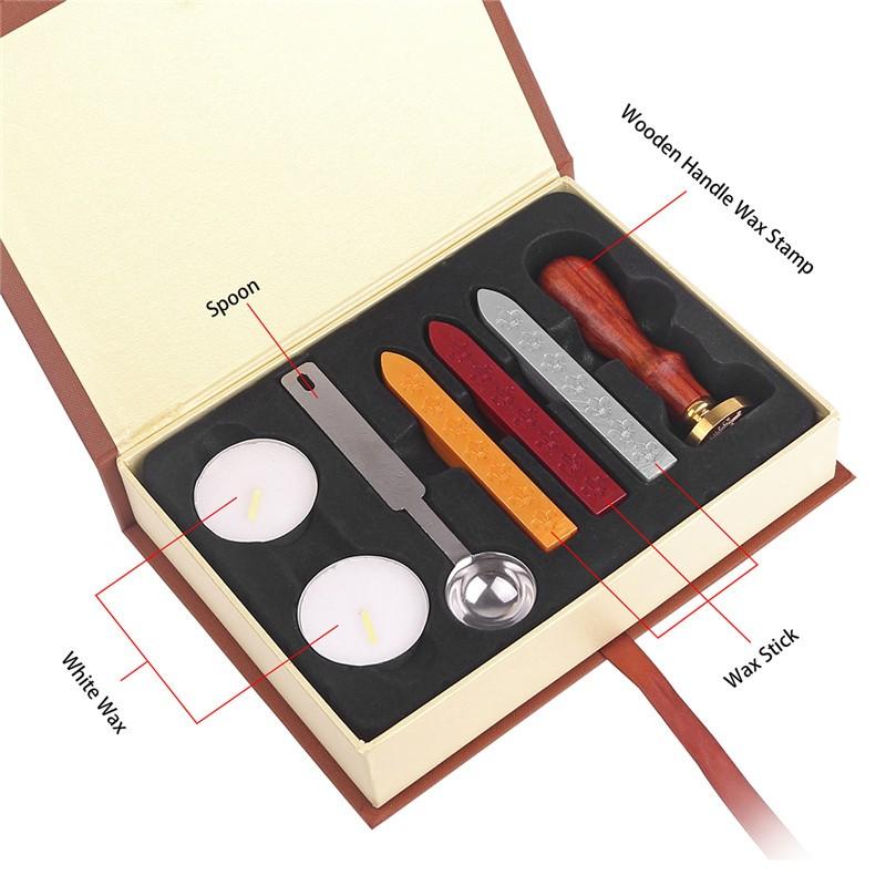 retro school badge wax seal stamp kit wax stick spoon gift box set