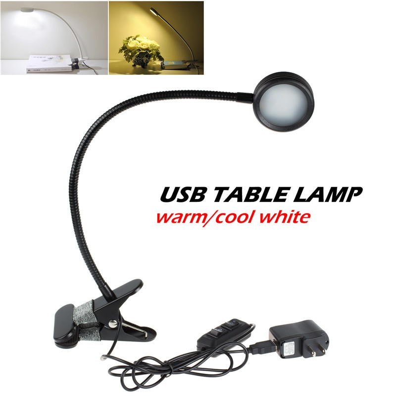 Lemonbest-Flexible USB Clip Desk Bed Reading Lamp Dimmable 10 SMD LED Light for PC Laptop Notebook Netbook