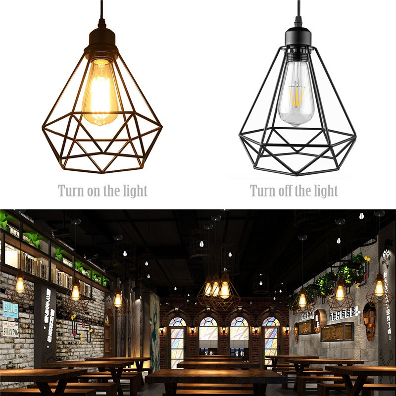 Industrial Vintage Diamond Cage Pendant Light Sconce Hanging Droplight Lamp E27 Socket AC 85-240V