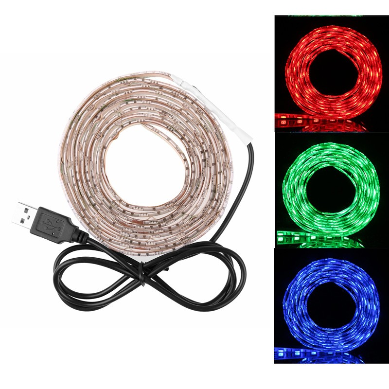 LemonBest-50cm/ 1m/ 2m  Waterproof RGB 5050 SMD USB 30LED Strip Light String Lamp DC 5V
