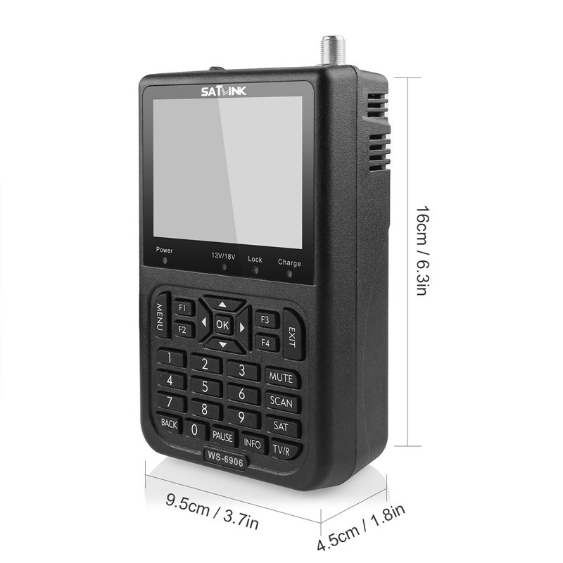 "SATlink WS-6906 DVB-S FTA Data Digital Satellite Signal Meter Finder 3.5"" LCD EU/US/UK/AU Plug"