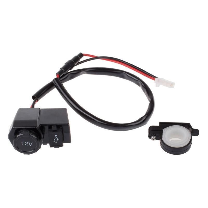 LemonBest-New Motorcycle Scooter 12V USB Cigarette Lighter Power Port Outlet Socket Kit