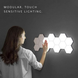 Touch Wall Lamp Quantum Lamps Hexagon Lights Sensitive LED Magnetic Modular Light for Home Decor DIY Wall lamparas-5pcs Set White US Plug