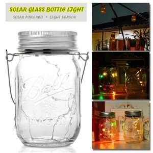 Solar Powered 10-LED Glass Bottle Light Waterproof Jar Lamp Coppoer Light  with Handle for Party Christmas Garden