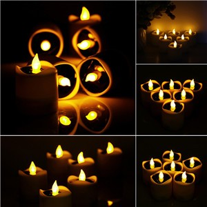 Lemonbest - 6pcs Waterproof LED Solar Powered Candle Light Lamp Tealight with Light Sensor Yellow Flickering Light for Indoor Outdoor Wedding Christmas Valentine's Holiday Decoration