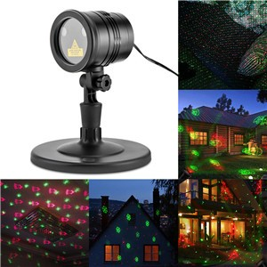 Lemonbest - IP65 Waterproof Adjustable Dynamic Projector Lamp Landscape Stage Laser Light Sparkling 4 Patterns with Remote Control for Indoor Outdoor Christmas Decoration Theater