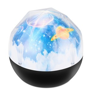 Universe / Earth  Diamond-shaped LED Projector Lamp Rotation Night Light with Star Ocean Birthday Pattern Adjustable Brightness for Kids Children Holiday Decoration