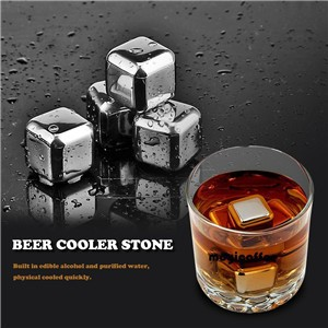 4Pcs Stainless Steel Whiskey Wine Beer Cooler Stone Ice Cubes Physical Cooled