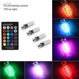 4x T10 6SMD 5050 RGBW LED Car Interior Reading Lights Super Bright 16-Color Changing Width Lamp Wedge Side Light with Wireless Remote Control