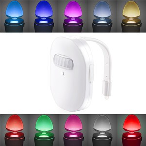 IP67 Waterproof Rechargeable Toilet Light Night Lamp 12 Colors LED Light 3-Level Brightenss Motion Activated in Darkness