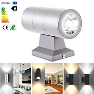 Lemonbest - Wall Light Up Down Dual-Head Cylinder COB 10W LED Wall Light IP65 Waterproof Wall Lamp Outdoor AC 85-265V