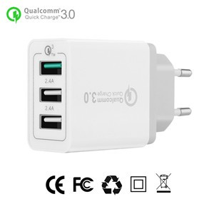 EU Plug 3-Ports QC3.0 USB Wall Charger Travel Adapter Qualcomm 3.0 Quick Charger Support Smart Fast Charge for Samsung Galaxy S6 HTC M9 Nexus 6 LG G4